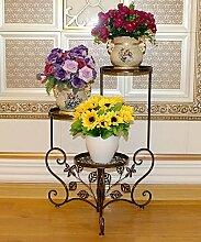 LIXIONG Eisen Blumen Racks Europäische Kreativ 3 Schichten Blumentopf Rack Indoor Wohnzimmer Balkon Pflanze Stand Hochwertige Blume ( Farbe : B , größe : 48*68cm )