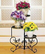 LIXIONG Eisen Blumen Racks Europäische Kreativ 3 Schichten Blumentopf Rack Indoor Wohnzimmer Balkon Pflanze Stand Hochwertige Blume ( Farbe : A , größe : 48*68cm )