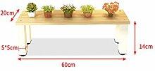 LIXIONG Eisen-Kombination Blumenständer Balkon Wohnzimmer Massivholz Blumenrahmen Rahmen Montage Hölzerne Indoor Blumen Regal Hochwertige Blume ( größe : (L*H)60*14CM )