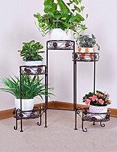 LIXIONG European-style Blumenregale Iron Fives Schicht Leiter Blumenregal Balkon Innen-und Außenbereich Blumen-Topf Blumenregal Bronze und Schwarz Hochwertige Blume ( Farbe : A )