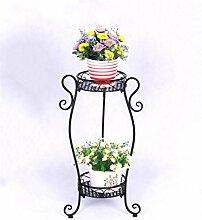 LIXIONG European-style Iron Flower Racks Floor-style Zwei-Layer-Bonsai-Rahmen Balkon Wohnzimmer Innen-und Outdoor-Blumentopf Regal Pflanze Regal Hochwertige Blume ( Farbe : A , größe : 67cm )