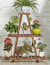 LIXIONG Massivholz 3-stöckiges Fußboden-Blumen-Topf-Regal, Betriebs-Standplatz, Blumen-Zahnstange für Balkon, Innen Hochwertige Blume ( Farbe : A )