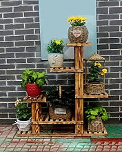 LIXIONG Massivholz-Blumentopf-Rahmen Mehrstöckige Fußboden-Töpfe Regal-hölzerne Blumen-Racks Bonsais-Balkon-Wohnzimmer-Innen-Korrosions-Blumen-Zahnstange Hochwertige Blume ( Farbe : B , größe : 97*98cm )
