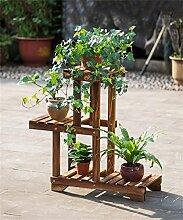 LIXIONG Massivholz Holzkohle Farbe Blumenregal Boden-Typ Bonsai-Rahmen Multi-Layer-Blumentopf Rack Wohnzimmer Schlafzimmer Balkon Blume Regal Hochwertige Blume