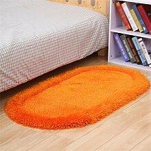 LIXIONG Oval Verdickung Teppich Nachttisch Kissen Wohnzimmer Couchtisch Teppich Verdickung Elastischer Draht Teppich Modern Minimalist Anti-Rutsch-Teppich Rutschfester Fußpolster ( Farbe : L , größe : 80×160cm )