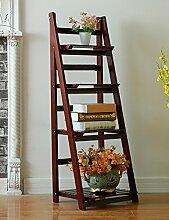 LIXIONG Wooden Flower Racks Vier Schichten Wohnzimmer mit Balkon Faltbare Leiter Massivholz Blumenregal Regal Hochwertige Blume ( Farbe : A , größe : L*W*H:42*34.5*112cm )