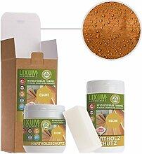 LIXUM ESCHEN HOLZSCHUTZ BIO (orange) 1000ml = 30m²- natürlicher Langzeitschutz für Holz, hält bis zu 10 Jahren, nur 1 Anstrich nötig. Mit integriertem UV-Schutz und ohne Weichmacher.