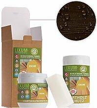 LIXUM ESCHEN HOLZSCHUTZ BIO (schwarzbraun) 1000ml = 30m²- natürlicher Langzeitschutz für Holz, hält bis zu 10 Jahren, nur 1 Anstrich nötig. Mit integriertem UV-Schutz und ohne Weichmacher.