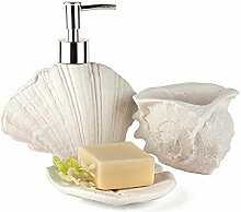 Liyongdong Badezimmer Zubehör Sets Features Sandstein Sanitär Badezimmer Waschen Set Emulsion Flaschen Zahnbürstenhalter Seifenschale , white