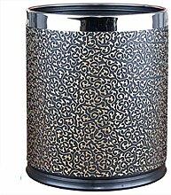 LIYONGDONG® Mülleimer Haushalt Wohnzimmer Schlafzimmer Küche Mülleimer Metall Doppel-Mülleimer Material Leder 10L black b