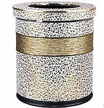 LIYONGDONG® Mülleimer Haushalt Wohnzimmer Schlafzimmer Küche Mülleimer Metall Doppel-Mülleimer Material Leder 10L white a