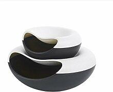 LIYONGDONG® Mülleimer Mini kreative Aufbewahrungsbox Desktop Doppel - Schicht Haushalt Obst Platte Kunststoff Obst Platte black and white