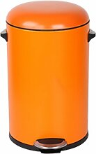 LIYONGDONG® Mülleimer Pedal Mülleimer Doppel Kreis Mute Müllcontainer Haushalt Toilette Küche Wohnzimmer Mülleimer Material Metall orange 12L
