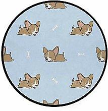 Liz Carter 60cm Runder Teppich Chihuahua Welpe mit