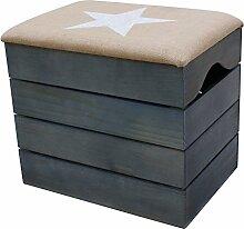 LIZA HOLZTRUHE (PETROLEUM BLAU) Lagerung Bank, Sitzhocker, Pouf, Sitzbank, Vintage Holzstuhl mit gemütlichem Sitzplatz mit Stoff bezogen. Möbel für Schuhe, Spielzeuge. Massive Nordische Kieferholz - 50 x 45 x 36 cm (Weiß Stern)