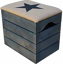 LIZA HOLZTRUHE (PETROLEUM BLAU) Lagerung Bank, Sitzhocker, Pouf, Sitzbank, Vintage Holzstuhl mit gemütlichem Sitzplatz mit Stoff bezogen. Möbel für Schuhe, Spielzeuge. Massive Nordische Kieferholz - 50 x 45 x 36 cm (Schwarz Stern)