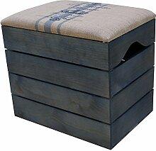 LIZA HOLZTRUHE (PETROLEUM BLAU) Lagerung Bank, Sitzhocker, Pouf, Sitzbank, Vintage Holzstuhl mit gemütlichem Sitzplatz mit Stoff bezogen. Möbel für Schuhe, Spielzeuge. Massive Nordische Kieferholz - 50 x 45 x 36 cm (Blaue Linien)
