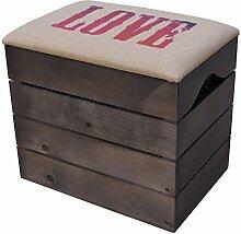 LIZA HOLZTRUHE (TAUPE) Lagerung Bank, Sitzhocker, Pouf, Sitzbank, Vintage Holzstuhl mit gemütlichem Sitzplatz mit Stoff bezogen. Möbel für Schuhe, Spielzeuge. Massive Nordische Kieferholz - 50 x 45 x 36 cm (Love)