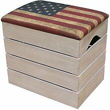 LIZA HOLZTRUHE (VINTAGE WEIß) Lagerung Bank, Sitzhocker, Pouf, Sitzbank, Vintage Holzstuhl mit gemütlichem Sitzplatz mit Stoff bezogen. Möbel für Schuhe, Spielzeuge. Massive Nordische Kieferholz - 50 x 45 x 36 cm (Retro USA Flagge)