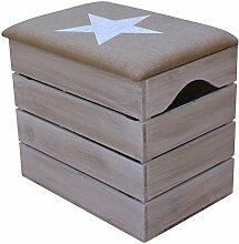 LIZA HOLZTRUHE (VINTAGE WEIß) Lagerung Bank, Sitzhocker, Pouf, Sitzbank, Vintage Holzstuhl mit gemütlichem Sitzplatz mit Stoff bezogen. Möbel für Schuhe, Spielzeuge. Massive Nordische Kieferholz - 50 x 45 x 36 cm (Weiß Stern)