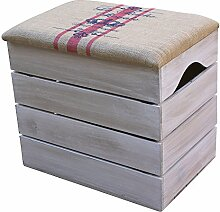 LIZA HOLZTRUHE (VINTAGE WEIß) Lagerung Bank, Sitzhocker, Pouf, Sitzbank, Vintage Holzstuhl mit gemütlichem Sitzplatz mit Stoff bezogen. Möbel für Schuhe, Spielzeuge. Massive Nordische Kieferholz - 50 x 45 x 36 cm (Rote Linien)