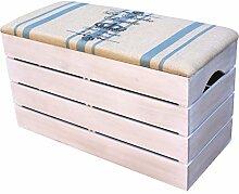LIZA LINE GROßE HOLZTRUHE (VINTAGE WEIß) Lagerung Bank, Sitzhocker, Pouf, Sitzbank,Holzstuhl mit gemütlichem Sitzplatz mit Stoff bezogen. Möbel für Schuhe, Spielzeuge. Massive Nordische Kieferholz - 80 x 45 x 36 cm (BLAUE LINIEN)