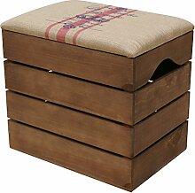 LIZA LINE HOLZTRUHE (WALNUSSBRAUN) Lagerung Bank, Sitzhocker, Pouf, Sitzbank, Vintage Holzstuhl mit gemütlichem Sitzplatz mit Stoff bezogen. Möbel für Schuhe, Spielzeuge. Massive Nordische Kieferholz - 50 x 45 x 36 cm (Rote Linien)