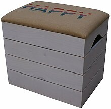 LIZA LINE HOLZTRUHE (WEIß) Lagerung Bank, Sitzhocker, Pouf, Sitzbank, Vintage Holzstuhl mit gemütlichem Sitzplatz mit Stoff bezogen. Möbel für Schuhe, Spielzeuge. Massive Nordische Kieferholz - 50 x 45 x 36 cm (HAPPY)