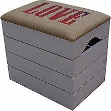 LIZA LINE HOLZTRUHE (WEIß) Lagerung Bank, Sitzhocker, Pouf, Sitzbank, Vintage Holzstuhl mit gemütlichem Sitzplatz mit Stoff bezogen. Möbel für Schuhe, Spielzeuge. Massive Nordische Kieferholz - 50 x 45 x 36 cm (LOVE)