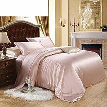 LJ-BT Silk Bettbezug, Volltonfarbe Seidige Betten,