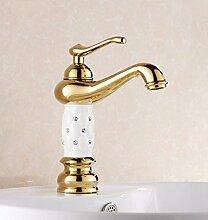 LJ Gold-Kupfer-Bassin Bassin-Hahn-Aufsatzbecken Waschbecken Badezimmer-Schrank Weiß Schwarz mit warmen und kalten Wasserhahn