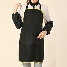 LJ&L Frauen einstellbar Schürzen der Formel Halter, Ölverschmutzung , Tasche, Gartenarbeit Kochen Grill-Schürzen,yellow,75cm*65cm