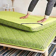LJ&XJ Dicken Tatami matratze,Bambusholzkohle Füllen Atmungsaktiv Nicht stickig matratzenauflage,Klar Geruch Faltbare bodenmatte Anti-hausstaubmilben-Grün Queen1