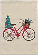 LJB Weihnachten Fahrrad und Katze im Korb Garten