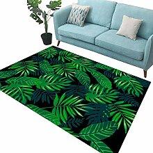 LJF RUG Pflanze gedruckt Teppich, grüne Blätter