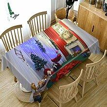 LJJJZS Festliche Tischdecke Weihnachten Cottage