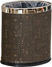 LJT Retro Mülleimer Chinesische Mode Kreative Leder Metall Mülleimer Wohnzimmer Home Hotel ( Farbe : Braun , größe : A-8L )