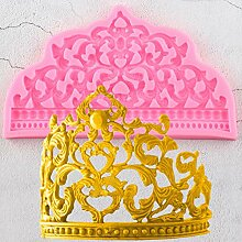 LKJHG 3D Craft Crown Cake Border Silikonformen