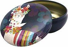 LLAMA LOVE Aufbewahrungsbox, rund, Weiß