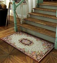 LLD DITAN Europäische Chenille-rechteckige Hauptboden-Tür-Matten-Teppiche Rutschfeste Fuß-Auflage (Farbe : E, größe : 60*90cm)