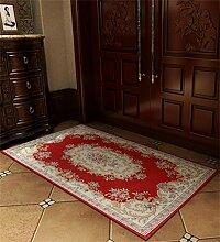 LLD DITAN Europäische Chenille-rechteckige Hauptboden-Tür-Matten-Teppiche Rutschfeste Fuß-Auflage (Farbe : O, größe : 50*80cm)