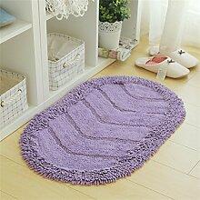 LLD DITAN Ovale Fuß-Auflage-Haus-Matte-Küche-Badezimmer-Wolldecke-wasserdichter Teppich-rutschfeste Tuch-Matten ( Farbe : Lila , größe : 50*80cm )