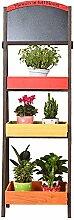 LLDHUAJIA LIANLIAN Massivholz Blumenregal Balkon Blumentopf Drei-Schicht-Regal Wohnzimmer Pflanze Regale Indoor Wood Flower Rack Pflanzenregal