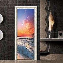 LLHBDA 3D Door Sticker 77 * 200cm 3D Fancy Tree