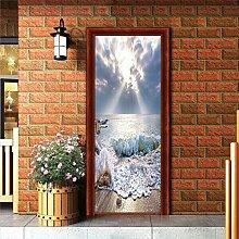 LLHBDA 3D Door Sticker 77 * 200CM 3D Space
