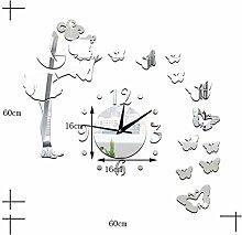 LLHBE Engel Schmetterling DIY Kunst Wanduhr Aufkleber Mit 3D Rahmenlos Acryl Spiegel Wohnzimmer Schlafzimmer Küche Büro Kindergarten Dekoration,Silver