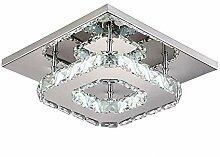 LLLKKK 12W 20cm Quadrat LED Kristall Deckenleuchte