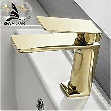 LLLYZZ Becken Wasserhahn Bad Waschbecken Gold