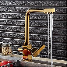 LLLYZZ goldene Doppelgriff-Küchenarmatur mit
