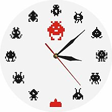 llsmting Wanduhr Retro Game Space Alien Invader